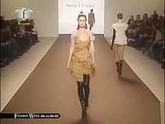 Supermodels show their naked tits on the runway