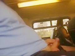 Wanking his little dick on an afternoon train ride