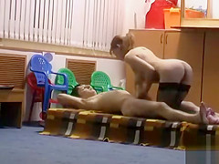 Russian teacher gets banged by her friend in the rumpus room