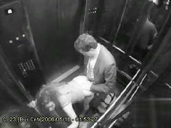 Public doggystyle fucking on elevator security camera
