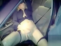 British woman masturbates in the car in front of a horny dude