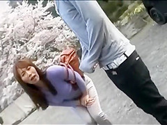 Desperate tourist woman pees her pants in public