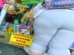 Russian BBW on the street has a fat ass in tight pants