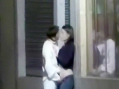 Kissing and fingering his sexy girlfriend on the street