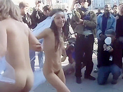 Naughty married couple dances naked with their friend in public