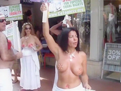 Topless protest on the Miami beach of Florida