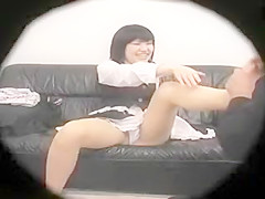 Pretty Japanese chick shows off her sexy legs and lovely li