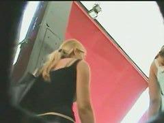 Hidden upskirts camera following girls around a shopping mall