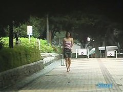 Delicious Asian chick in a public sharking video