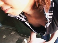 very pretty and very naive Asian chick downblouse small tits