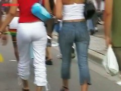 blonde hot chick and girlfriend street candid perfect ass