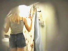 Sexy blonde chick on hidden shower cam