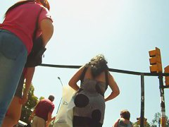 Cute teen schoolgirls upskirt voyeur video