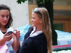 Amazing schoolgirl blonde upskirt video
