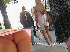 Amateur upskirt camera filmed young babe's charms