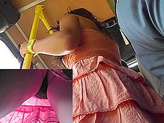 Chick shows up skirt beauties right in the bus