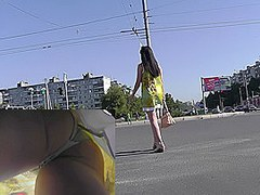 Classic panties of a cute chick presented in free upskirt