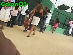 Bubble butt Latina exposed by a hidden upskirt cam