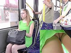 Blonde girl exposes her underwear for upskirt tube