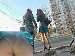Couple of ardent girls participates in upskirt videos