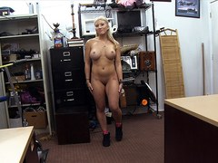 Lustful and blonde stripper wants to upgrade her pole gets fucked