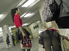 Dangerously exciting brunette in upskirt public video