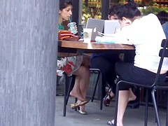 Candid double crossed legs by a sexy indian girl