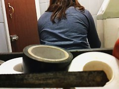Having pissed girl gets on toilet spy cam drying our nub