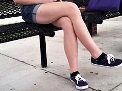 Candid crossed legs bouncing