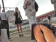 Doll in superb dress becomes a star of the upskirt clip