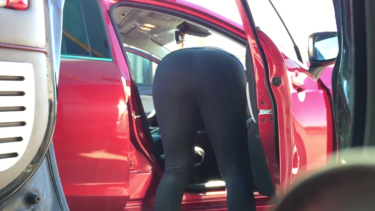milf black spandex car wash 2