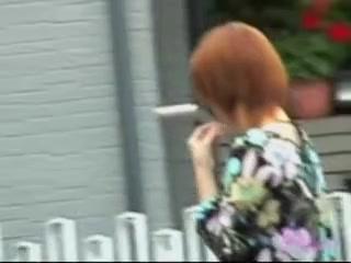 Redhead Asian milf got skirt sharked walking on the street