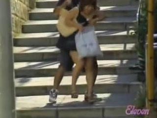 Stairs sharking affair with skinny beautiful hottie and naughty fellow