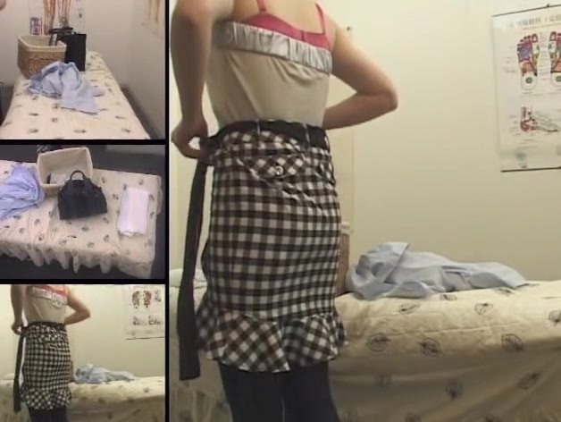 Skinny Asian gets pussy fingering in voyeur massage video