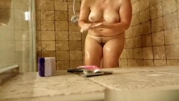 Chubby woman taking shower