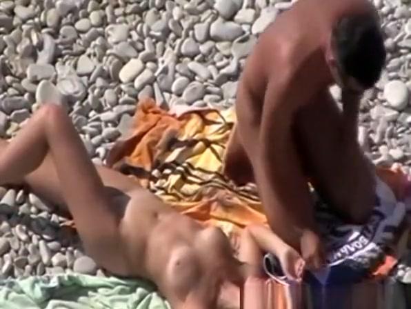 Guy fucks wife at rocky beach