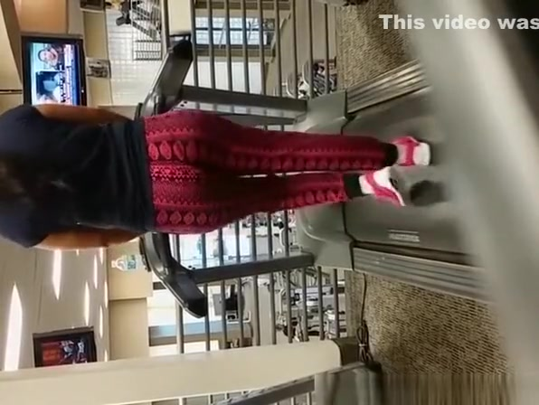Big ass in sports pants walking