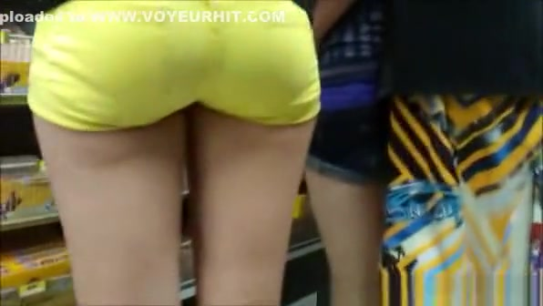 Tight yellow shorts tight sexy ass