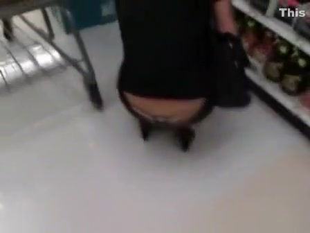 Thong and jeans at supermarket