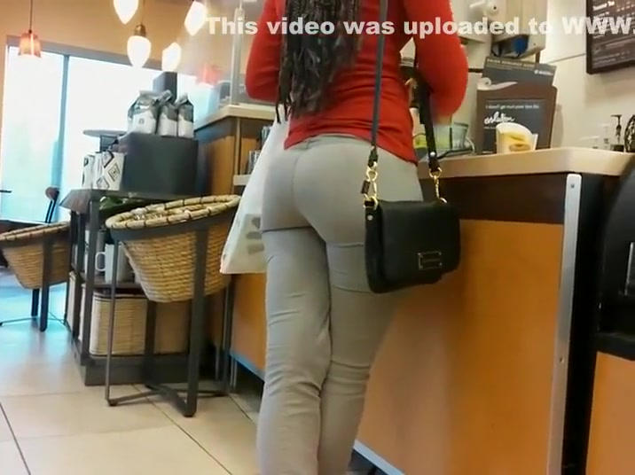 Waiting behind a big butt to get a coffee