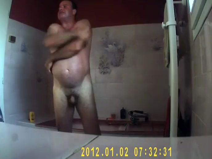 Mature couple spied showering together