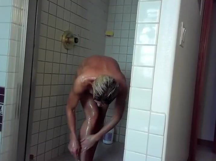 Nude women in the pool showers