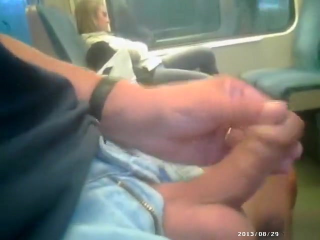 Publicly masturbating to a cutie on the train