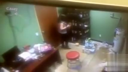 Desperate employee takes a pee in the supply room