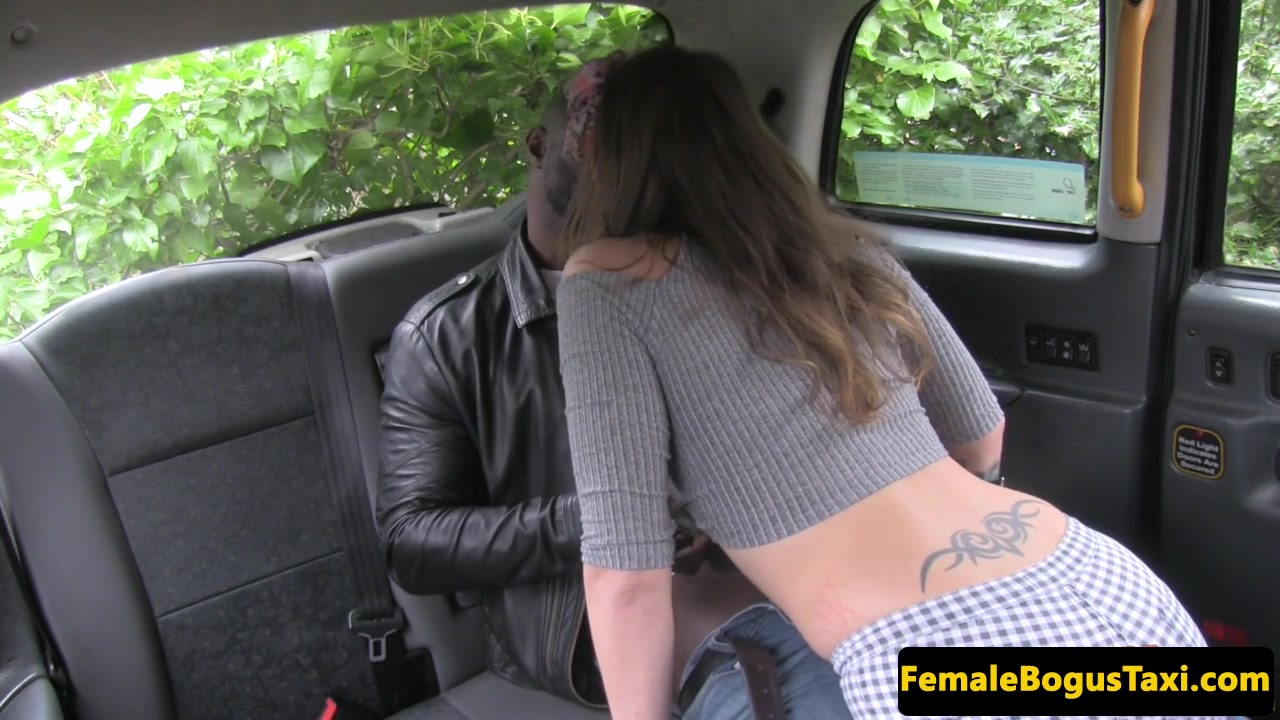 female taxi driver sucking in biracial cab