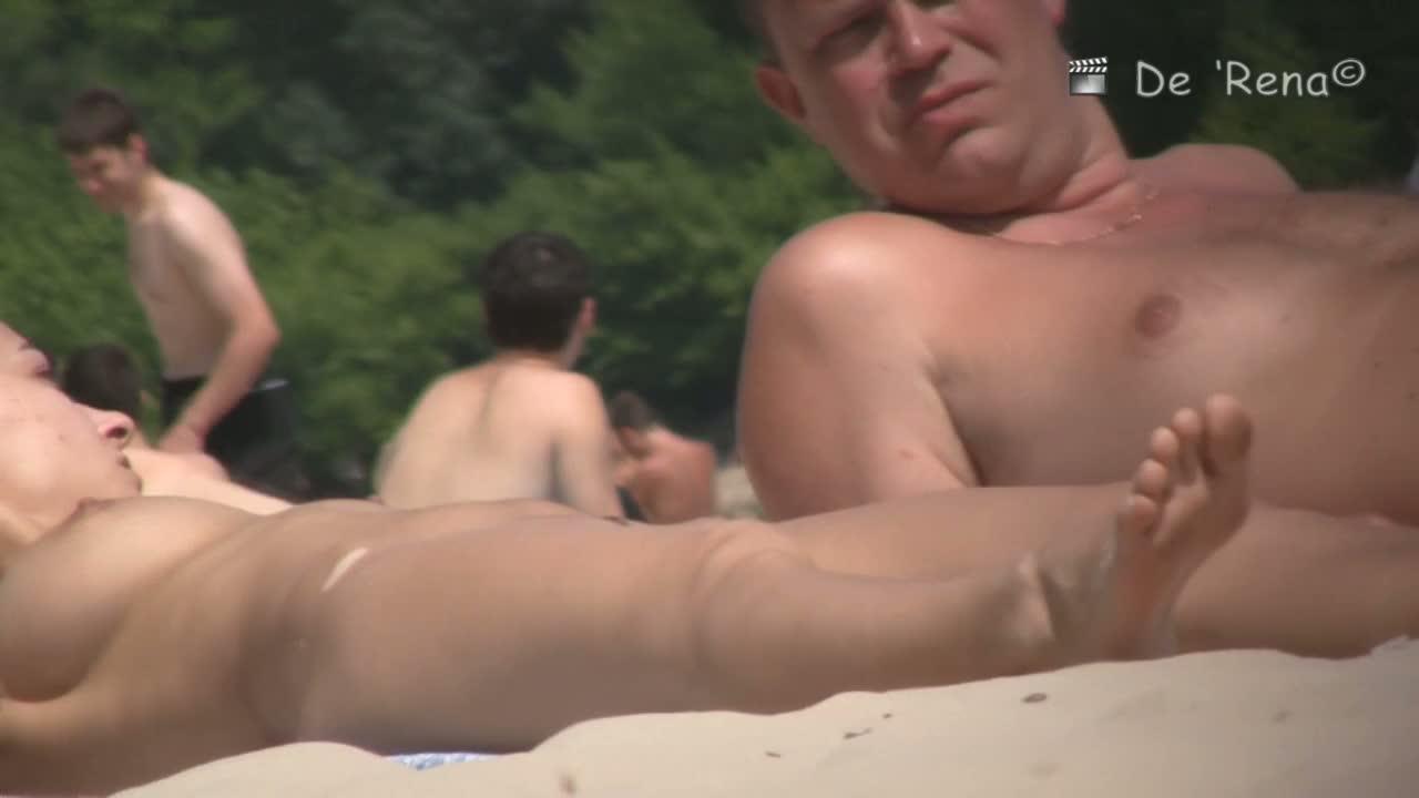 Voyeur on nudist beach captures three hot, naked cicks