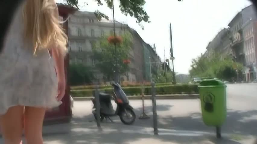 Sexy blonde teen upskirt voyeur vid
