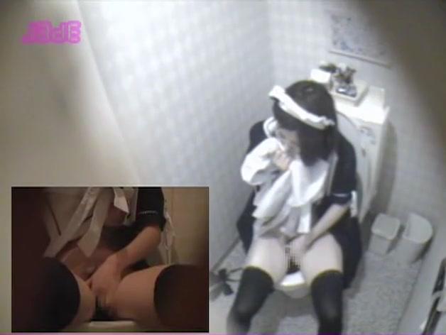 Sexy housemaid hairy pussy masturbation on toilet hidden cam