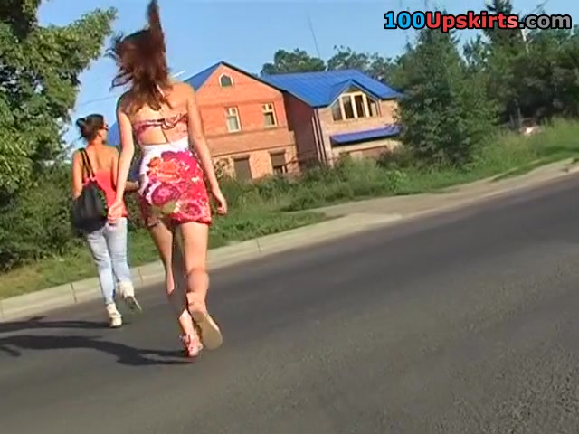 Chick in bright suit upskirt